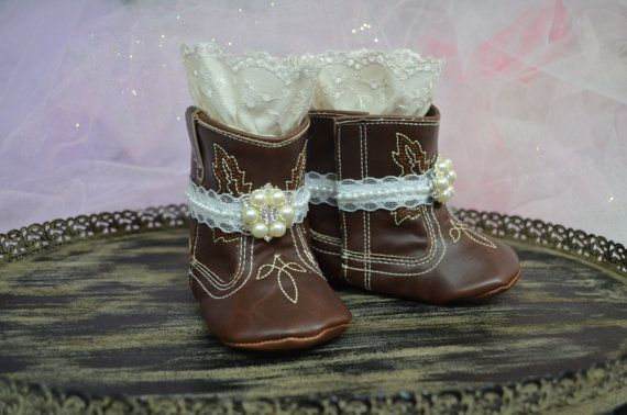 Soft Sole Baby Girl Cowgirl Boots...Baby Shoes...Baby Girl Boots...Photography Props...Lace Boots...Cowgirl Boots...Pre Walkers...Boots
