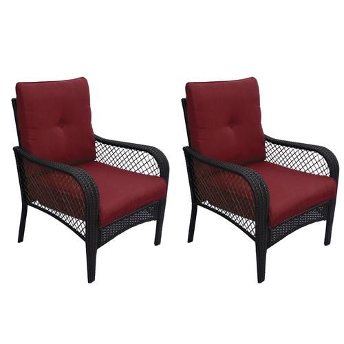 Backyard Creations Maple Grove Deep Seating Patio Chair In Red 2 Pack At Menards Backyard Creations Maple Grove Deep Seating Patio Patio Chairs Backyard Creations Outdoor Chairs