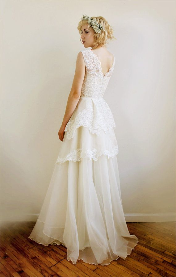 silk organza and french lace wedding gown by leanimal wedding