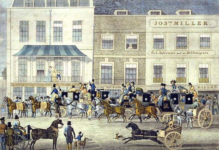 The street of Piccadilly itself was a a busy place where one would go to catch coaches departing for all parts of the country, and for inns and hotels servicing the travellers. Here's the West Country Mail about to depart the Gloucester Coffee House, Piccadilly, as drawn by artist James Pollard: