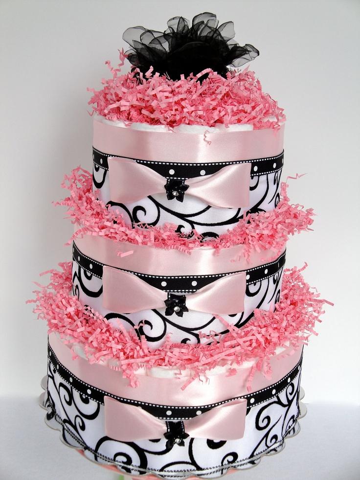 Damask baby shower baby diaper cake black pink white - Elegant baby shower ...