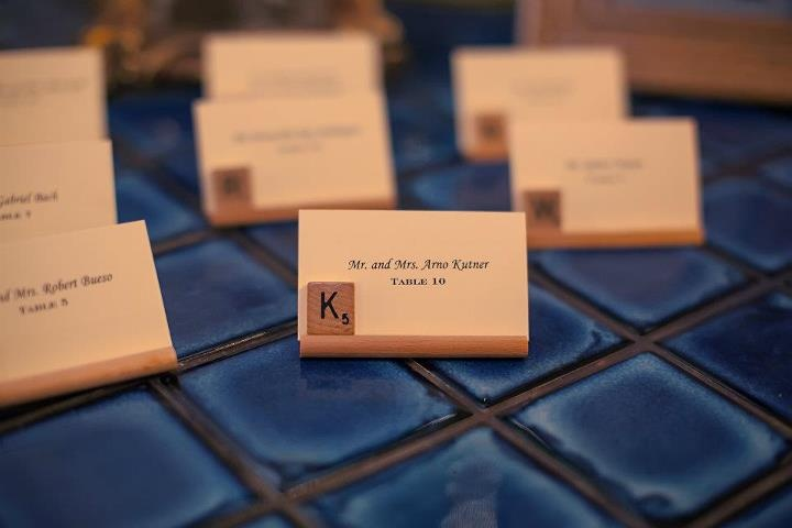 Scrabble themed wedding!  Cute wedding name cards