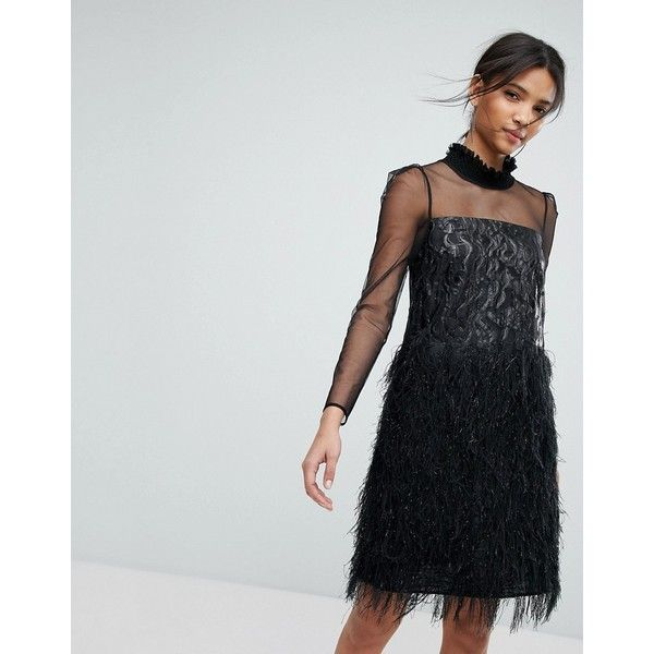 Tresophie Jaquard Metallic Dress With Fringing Dress (613 AUD) ❤ liked on Polyvore featuring dresses, black, fringe cocktail dresses, ruched cocktail dress, fancy dresses, ruffle dress and ruffle cocktail dress