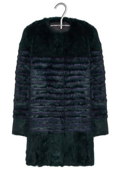Manteau long en fourrure à rayures Galim Vert by MAJE