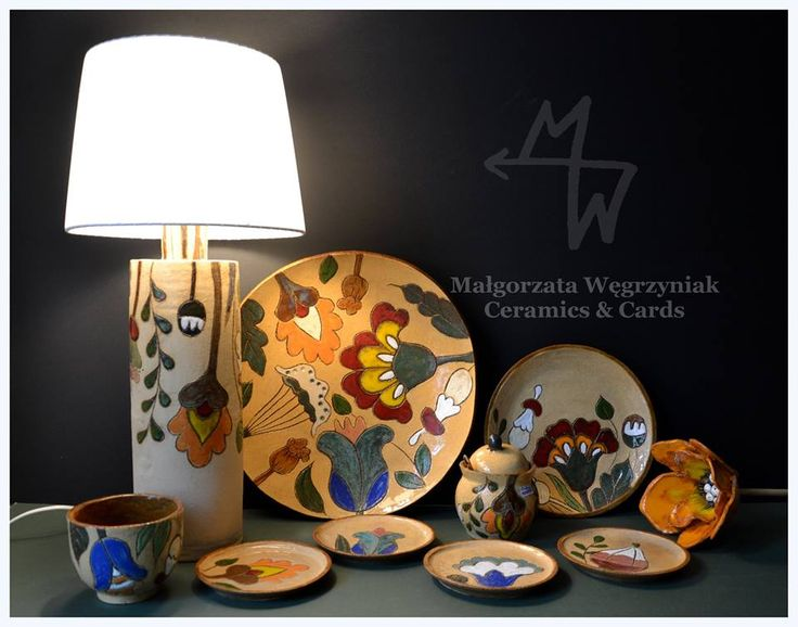 MW Ceramics Malgorzata Węgrzyniak Ceramic set with lamp #mwceramics #polandhandmade #ceramics #ceramika #pottery #glaze #flowers #lamp