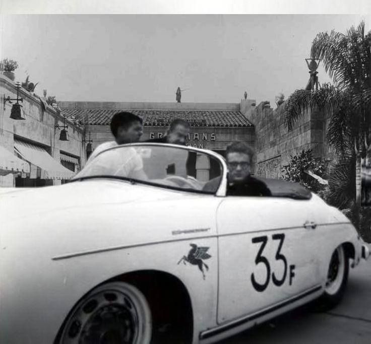 Photos Of James Dean And The Little Bastard: James Dean The Giant In His Porsche In Front Of Graumans