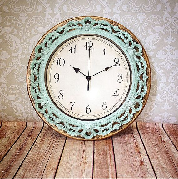 Shabby Chic WALL CLOCK in Heirloom White or Any by VintageEvents