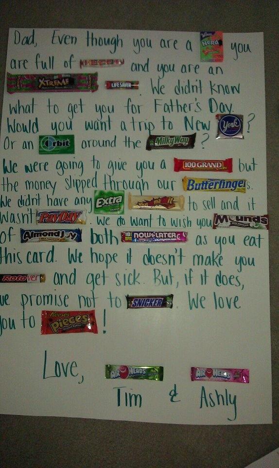 Father's Day Candy Card! TEACHER APPRECIATION IDEA??