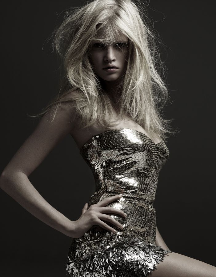 gold - Lara Stone, Hedi Slimane Photography dress fashion outfit sparkling blond hair