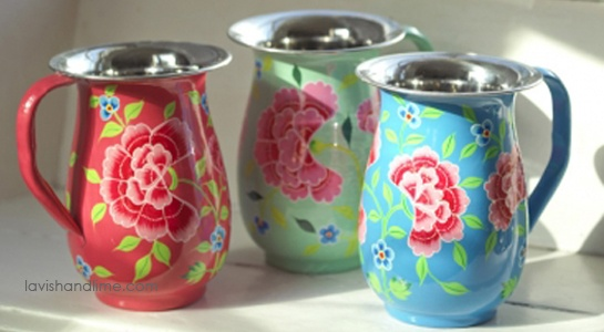 These unique stainless steel water jugs are made of top quality food safe steel and are unbreakable - perfect for use outdoors and make a great vase too! Matching cups. www.lavishandlime.com/Stainless-Steel-Water-Pitcher-hand-painted-franjipani-floral-p-1488.html#