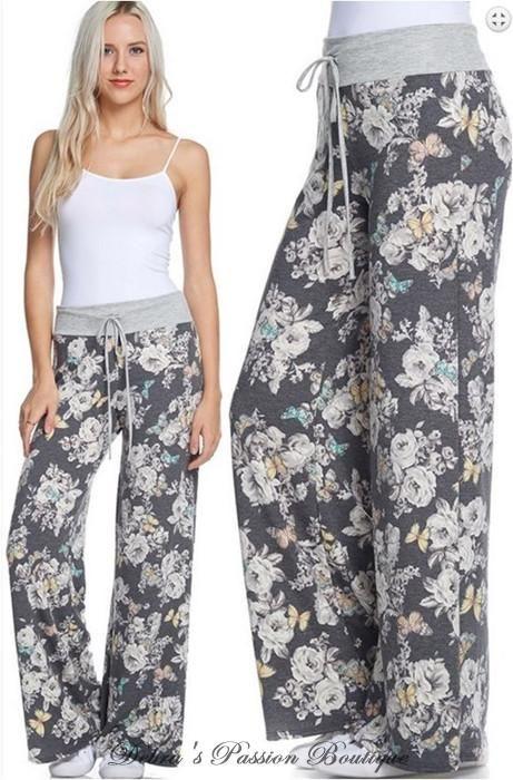 1a68dbb31b Floral Print Lounge Yoga Pants - Charcoal