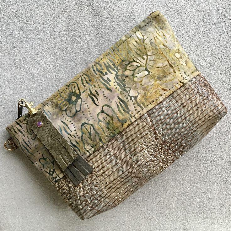 Clutch makeup phone bag pouch purse organizer wallet evening bag Beige Olive Lemon tapestry leather tassel Swarovski crystal rivet by SkyPathDesign on Etsy