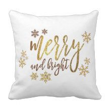 """Christmas Gold-White Pillow 16"""" x 16"""""""
