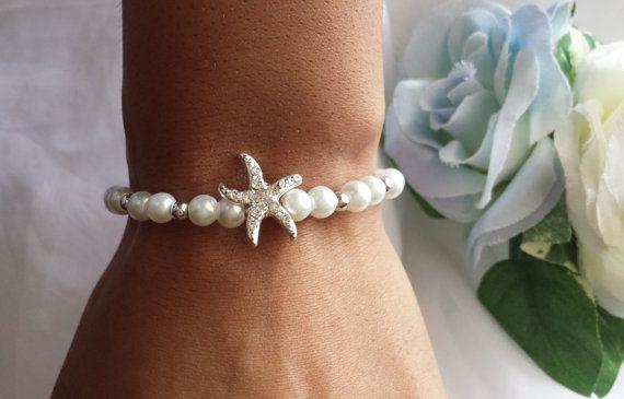 Bridal Pearl & Silver Rhinestone Starfish Bracelet Wedding Starfish Jewelry on Etsy, $16.64 AUD