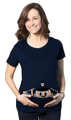 Maternity Peeking Cop Baby Police Funny Pregnancy Announcement T shirt (Navy)