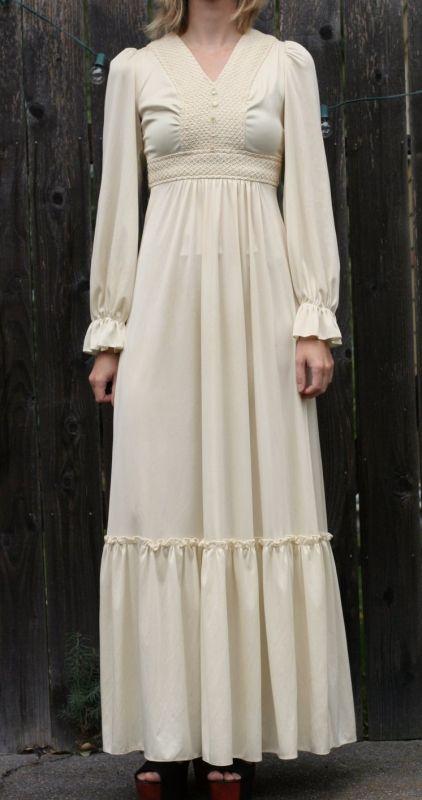 ヴィンテージウェディングドレス 70s クロシェタイのドレス