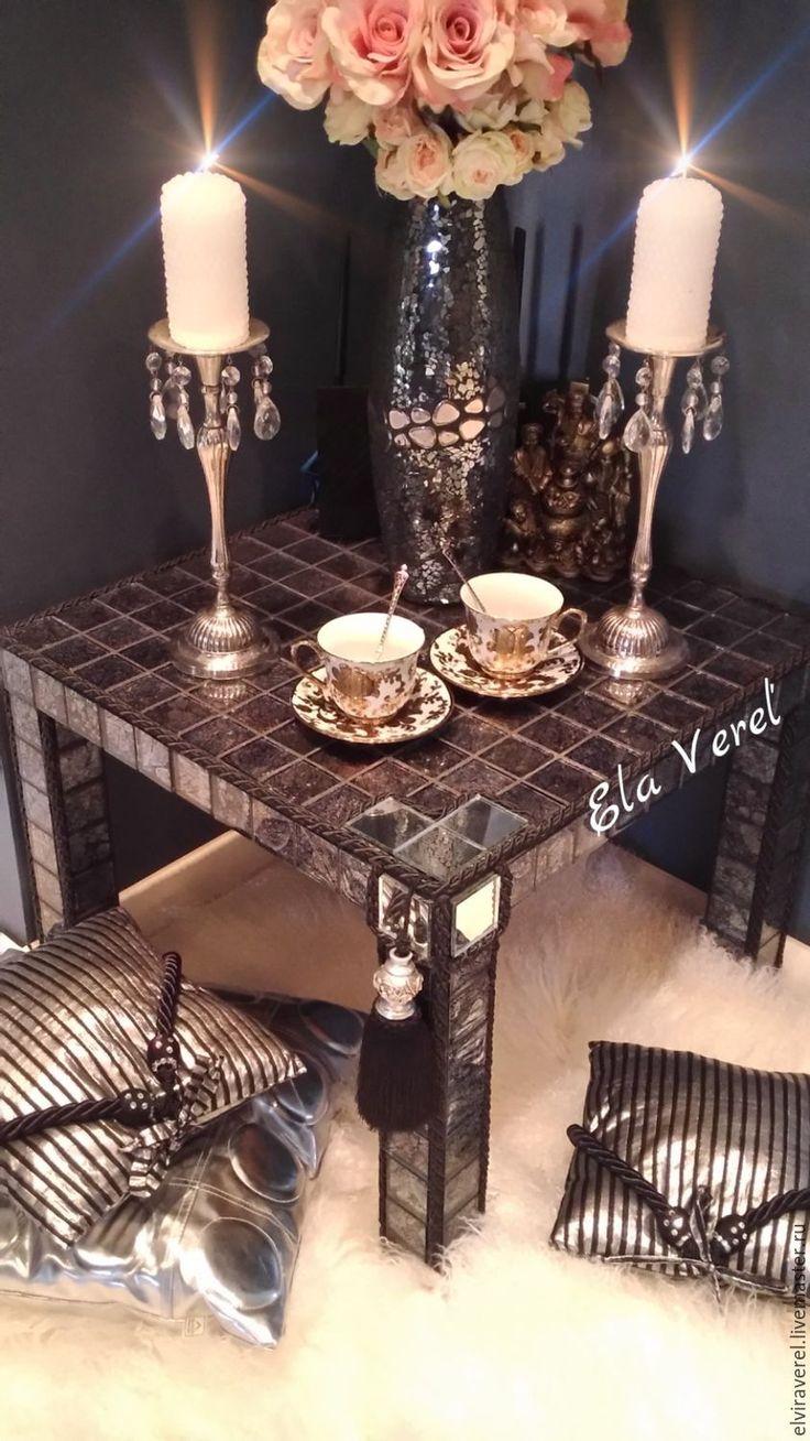 """Купить Интерьерный столик """" СОВРЕМЕННЫЙ ВИНТАЖ'' - комбинированный, мозаика, авторские штучки, винтажный столик"""