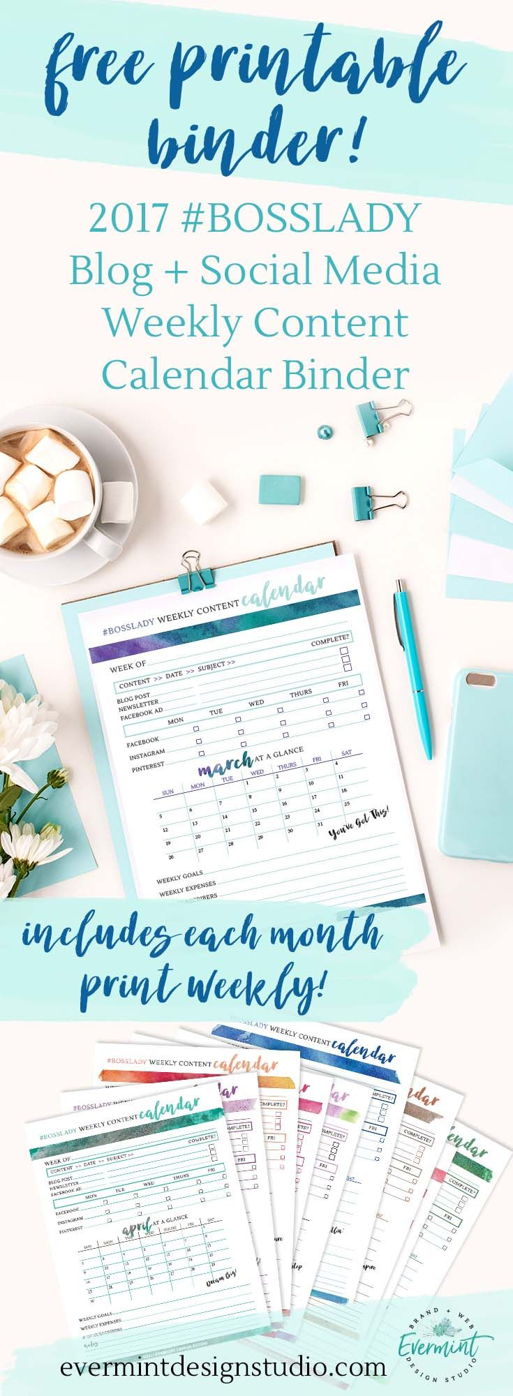 Get the FREE Printable Binder - 2017 Blog + Social Media Weekly Content Calendar // Looking to streamline your weekly content planning strategy? Download my 2017 Weekly Content Planner Binder and get organized with your weekly social media, blog and newsl
