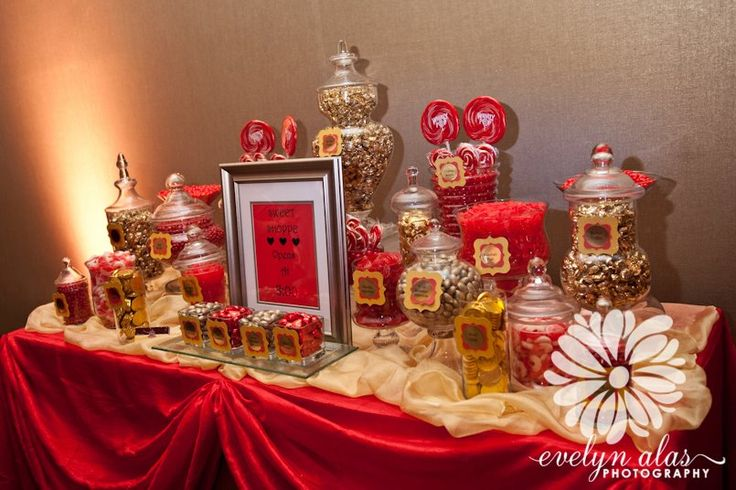 tables buffet wedding sweet buffet red gold red black red and gold