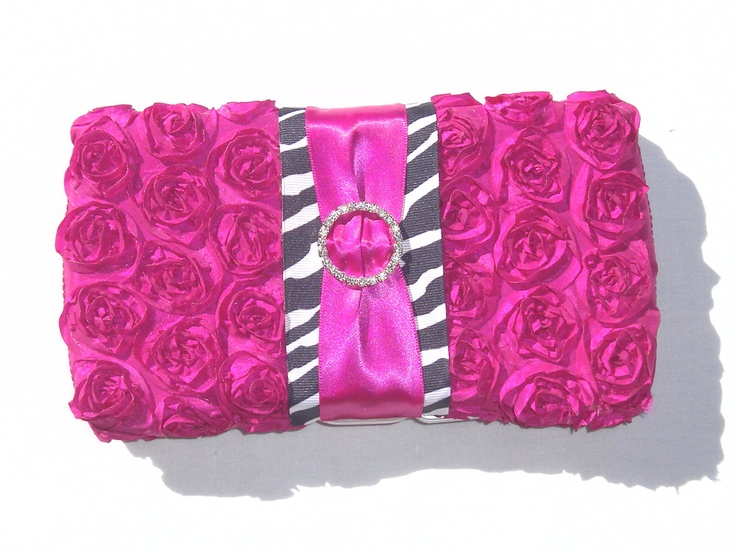hot pink and zebra print diaper wipe case--diaper bag clutch-- toddler baby shower gift -mom to be--pink baby girl gift idea. $19.89, via Etsy.