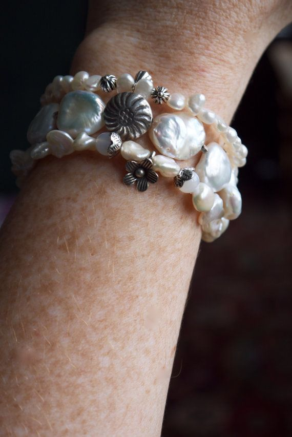 Ultra luxe pearl and sterling silver stacking bracelets by ThePillowBook - specialising in luxury bohemian jewelry.
