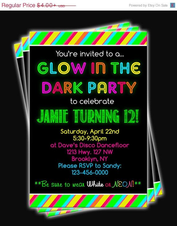 NEW YEARS SALE Glow In the Dark Neon Birthday Party Printable Invitation