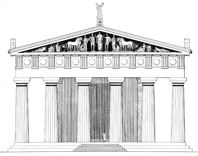 Temple of Zeus east facade reconstruction drawing, c. 470