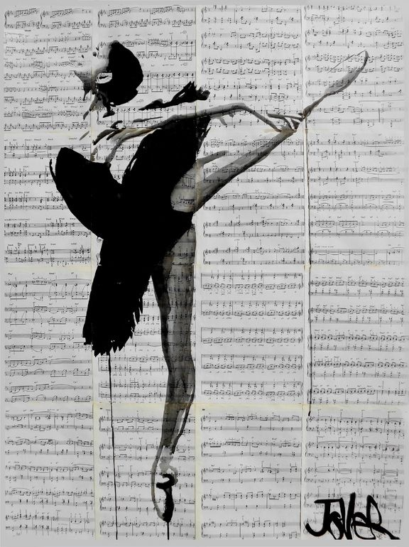 """the black tutu"" by Loui Jover; Ink Drawing"