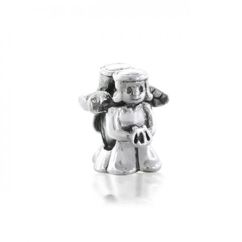 925 Sterling Silver Guardian Angel Bead Compatible with Pandora