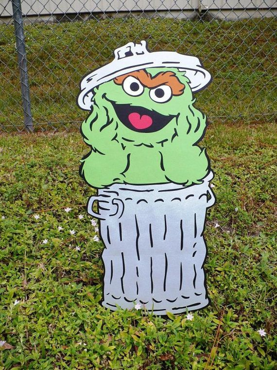 Sesame Street Oscar the Grouch Decoration Stand Up, standee, Sesame Street Party Prop on Etsy, $23.00