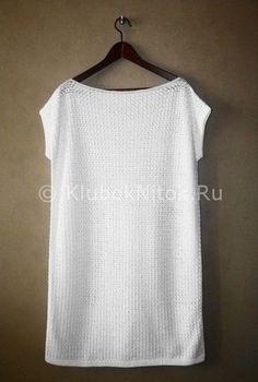 Белое простое платье   Вязание для женщин   Вязание спицами и крючком. Схемы вязания.