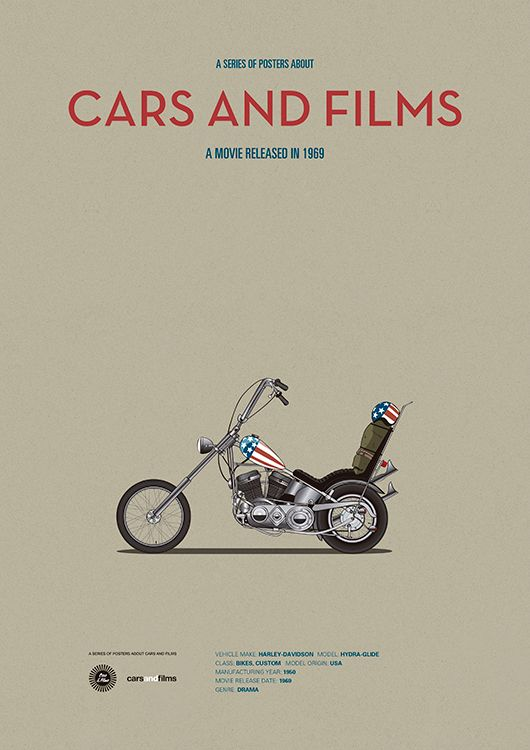 Easy Rider (1969) ~ Minimal Movie Poster by Jesus Prudencio ~ Cars And Films Series #amusementphile