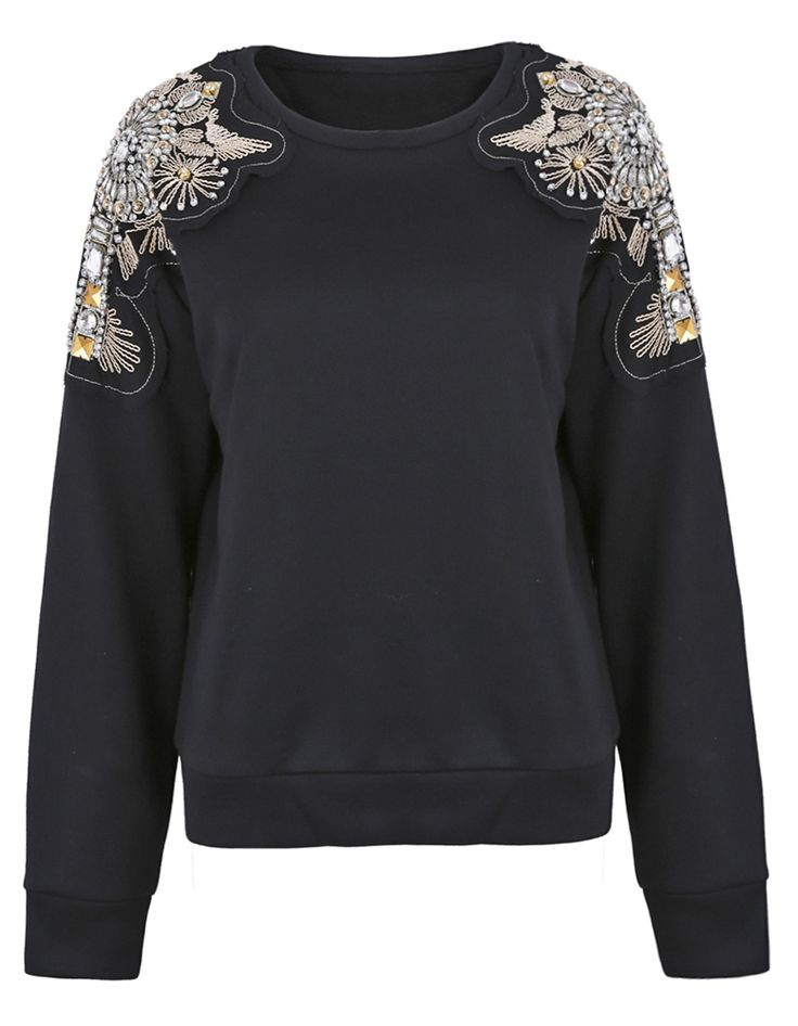 Black Patched Beading Crystal Shoulder Sweatshirt - Sheinside.com