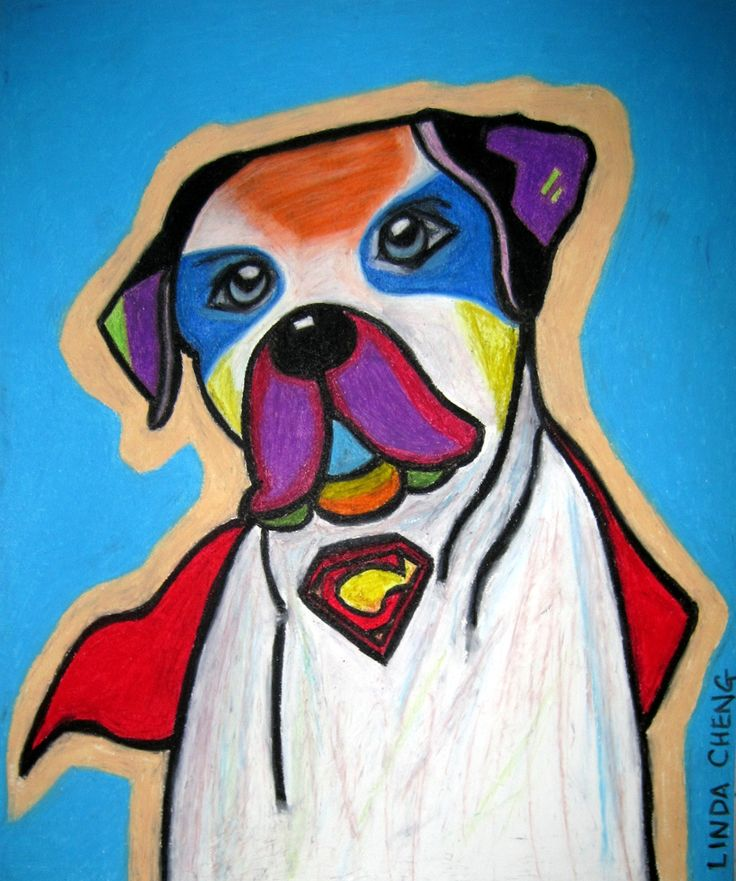 """SuperChester Dog 14""""x17"""" By Linda Cheng Categories: #dog, #dogs, #dogpopart, #dogs, #dogart, #DogPainting, #OilPainting, #ContemporaryArt, #ContemporaryPainting, #OilPastel, #ModernArt, #PopArt, #DogContemporaryPainting, #Animal Painting Official Site: www.linda-cheng.com"""