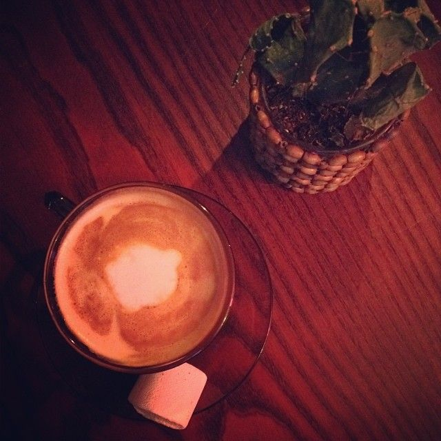 """""""This is - excuse me - a damn fine cup of coffee."""" Gloomy Twin Peaks atmosphere, red neon, stuffed birds, electronica from the DJ console and family photos on the wall. Fine cortado served with some gratuitous marshmallow on The Log Lady Café."""
