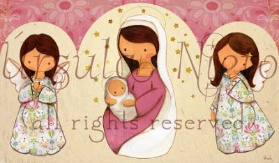 Triptico rosa. Virgen Rosa. Angelitos. Virgin Mary