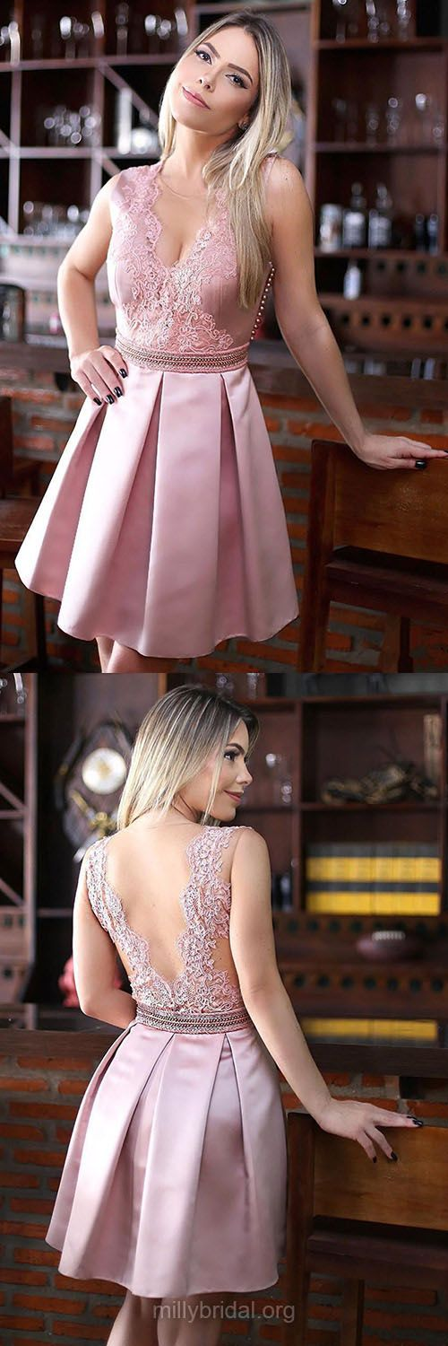 Sexy Homecoming Dresses,A-line Scoop Neck Pink Club Cocktail Dresses, Satin Tulle Appliques Lace Formal Party Gowns,Short/Mini Prom Dresses