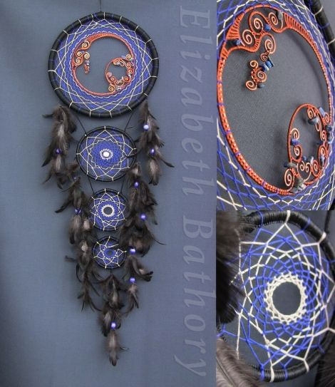 """Ловец снов """"Лазурит"""", рукоділля, метал, намистини, плетіння, декор, нитки, кільця, оберіг, сувенір, ручна робота, етнокультура"""