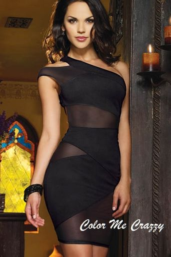 Bodycon Clubwear ShortBlack Dress With One Shoulder Design And See Through Mesh