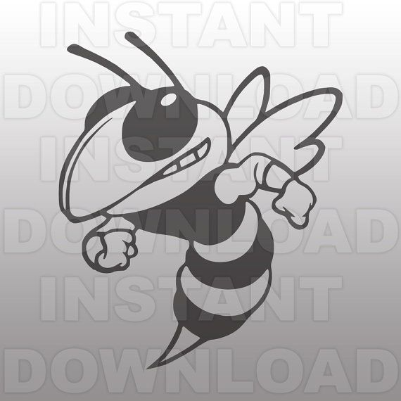 Hornet Mascot SVG File-Cutting File-Clip Art for Commercial and Personal Use-Vector art file for Cricut,Cameo,Sizzix,Pazzles,Decal,Vinyl