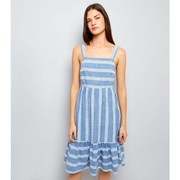 New Look Blue Stripe Frill Hem Midi Dress (€28) ❤ liked on Polyvore featuring dresses, blue pattern, night out dresses, going out dresses, print midi dress, blue print dress and blue party dress