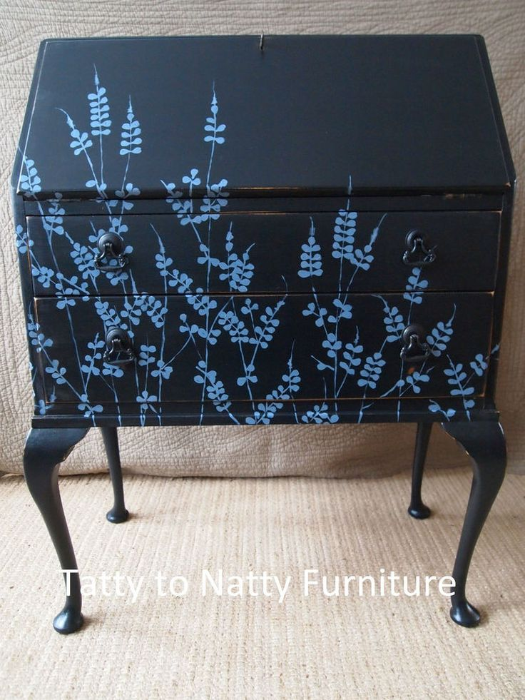 VINTAGE BUREAU painted BLACK shabby chic grey. desk chest of drawers sideboard