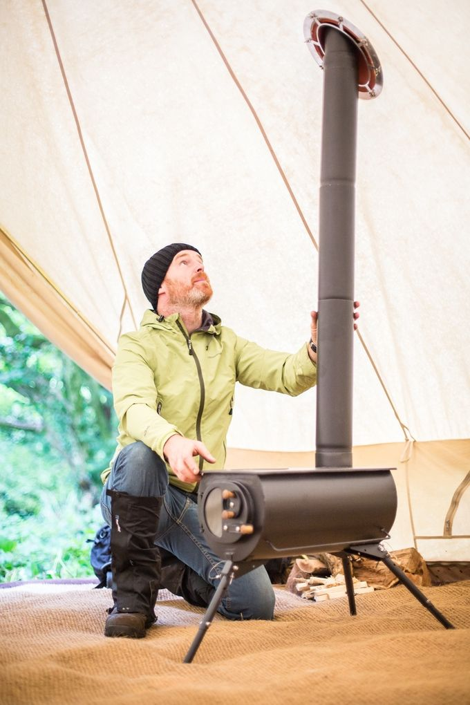 Or fit the flue straight up through the roof of your tent, shed or tiny house