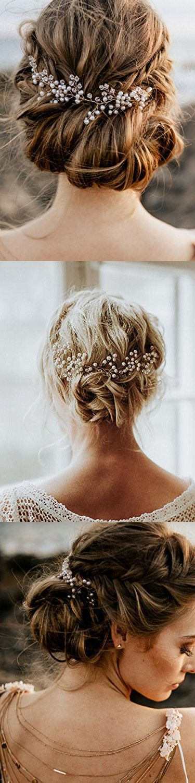 FXmimior Bridal Wedding Headpiece Hair Vine Crystals Rhinestone Headband Tiara Wedding Party Evening Hair Accessory (Silver)