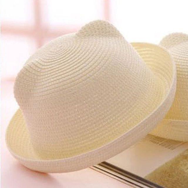 2016 di modo cappelli di paglia di estate del bambino orecchio decorazione bambino bello carattere ragazze e ragazzi cappello del sole solido bambini floppy panama