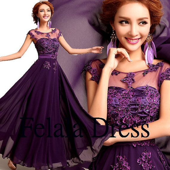 Purple prom dress lace prom dress 2014/ formal by FelalaDress, $139.00