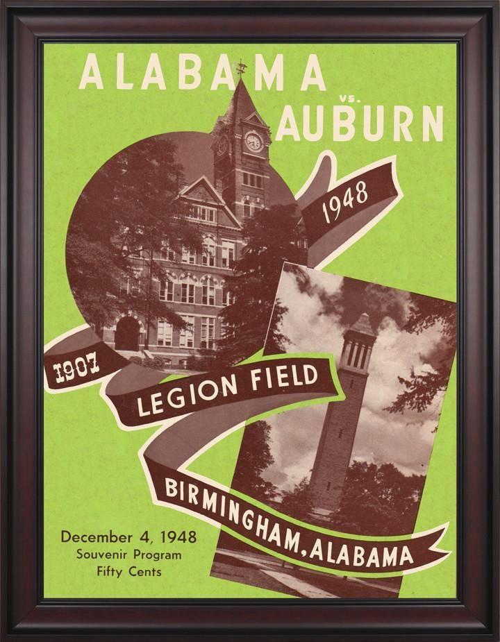 1948 Alabama Crimson Tide vs Auburn Tigers 30 x 40 Framed Canvas Historic Football Poster