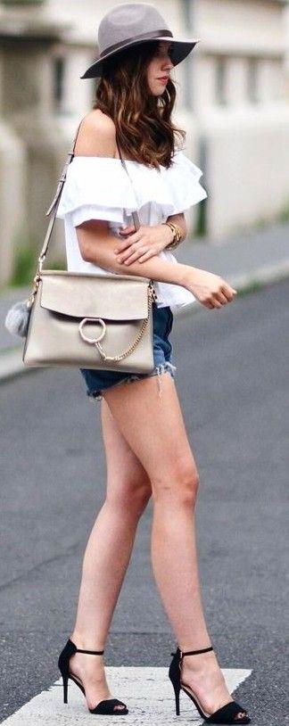 #summer #trending #outfits | White Bardot Top + Denim Shorts