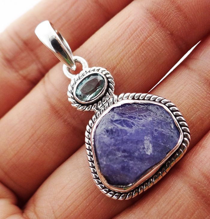 Natural Tanzanite Rough 925 Solid Sterling silver Pendant Jewelry TP-18 #Rananjay #HandmadePendant