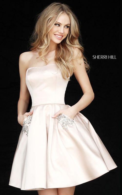 Nude Sherri Hill 51390 Short Satin Homecoming Dress